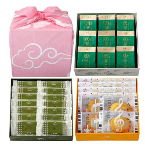京遊記3段(茶の菓、生茶の菓、楽しみかさね、風呂敷)