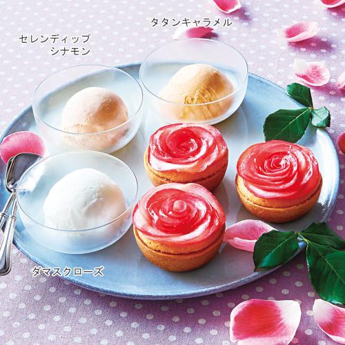 満開の薔薇ドルチェセット(タルト3個とジェラート3種セット)