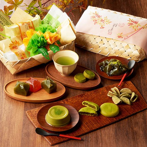 宇治抹茶スイーツギフト秋の竹かごセット